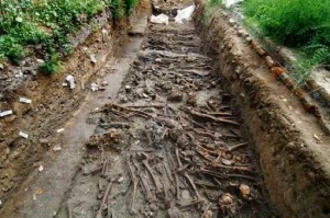 mass grave of plague victims